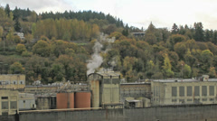 Historic Paper Mill Plant in Oregon City along Willamette River Time Lapse 1080p Stock Footage