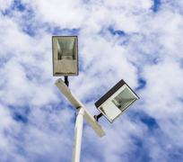 lamppost  on cloud sky - stock photo