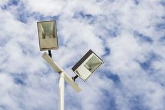 Lamppost  on cloud sky Stock Photos