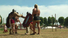 Gladiator training Secutor Secutor 03 Stock Footage