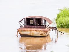 sandpump, ship suck sand on river. - stock photo
