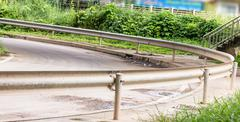 Curved road barrier ,curved road safety, barrier systems Stock Photos