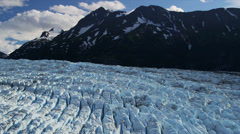 Aerial view Knik glacier Chugach Mountains, Alaska - stock footage