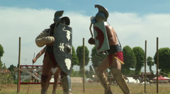 Gladiator training Thraex Murmillo 02 Stock Footage