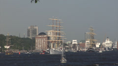 Grand Departure parade of Hamburg port anniversary Stock Footage