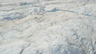 Stock Video Footage of Aerial view glacial ice river of ice blue water, Alaska