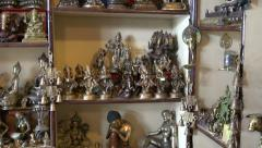 Tibetan and indian various  traditional and religious souvenirs in shop,India Stock Footage