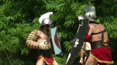 Gladiator training Thraex Murmillo 07 Stock Footage