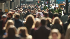 Stock Video Footage of Anonymous crowd of people walking on New York City street slow motion