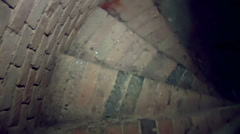 Stone spiral staircase in the tower of the church Stock Footage