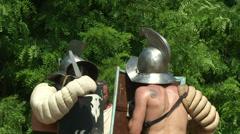 Stock Video Footage of gladiator training Thraex Murmillo 09