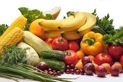 Group of vegetables and fruits Stock Photos
