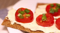 Toasts with tomato and cheese HD Stock Footage