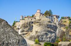 meteora monastery (greece). it belongs to the unesco world heritage site - stock photo