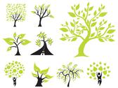 Stock Illustration of set of 9 green trees