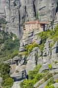 old greek church. monastery at meteora in trikala region in summer, greece. - stock photo