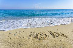miss you, creative abstract graphic message for your summer design. inscripti - stock photo