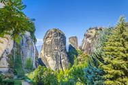 Stock Photo of monastery on top of rock in meteora, greece.  it belongs to the unesco world