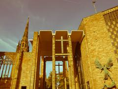 retro looking coventry cathedral - stock photo