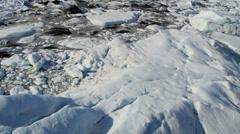 Aerial view of Ice glacier flows glacier, Alaska - stock footage