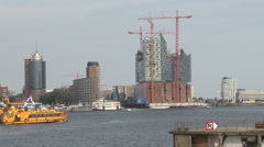 Hamburg, Hafencity construction work Stock Footage