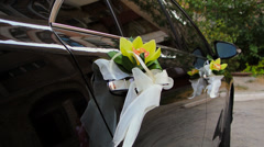 The decor at the wedding car Stock Footage
