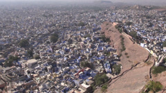 View to Rajasthan blue city Jodhpur from Mehrangarh ,India Stock Footage