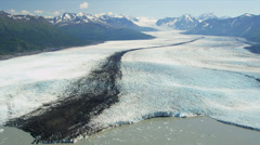 Aerial view Knik glacier Chugach Mountains, Alaska Stock Footage