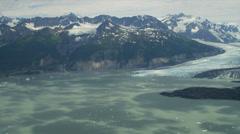 Aerial view Columbia glacier medial moraine damage, Alaska Stock Footage