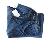 new blue jeans trouser and tag - stock photo