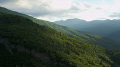 Aerial view mountain valleys and coniferous forest, USA - stock footage