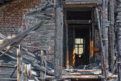 abandoned burnt house - stock photo