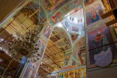 interior of russian orthodox church - stock photo