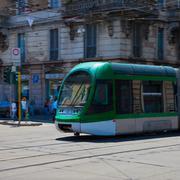 green streetcar - stock photo