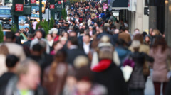 Anonymous crowd of people walking on New York City street Stock Footage