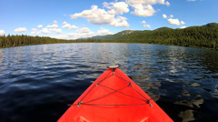 POV adventurous view of  Kayak remote lake, USA Stock Footage