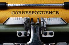 Stock Photo of correspondence text on typewriter