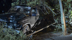 SUV Crashed Into Power Pole 7 Stock Footage