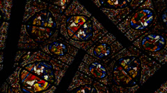Stained Glass Church Windows Hexagon - stock footage