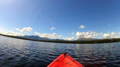 Stock Video Footage of POV kayaking wilderness lake area, USA