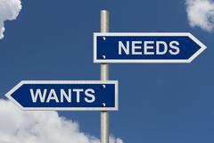 Wants versus needs Stock Illustration