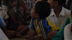 Little Cambodian Orphans Looking Amazed Stock Footage