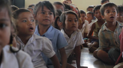 Little Cambodian Orphans Gathering Stock Footage