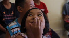 Little Cambodian Orphan Girl Smiling Stock Footage