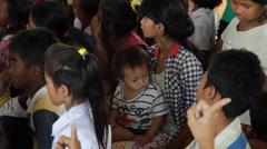 Cambodian Orphan Kids Gathering Stock Footage