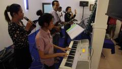 Cambodian People Singing in Chruch Stock Footage