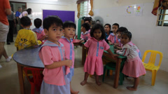 Group of Little Cambodian Orphans Stock Footage