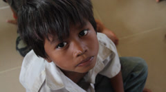 Poor Orphan Boy Looking Sad, Cambodia Stock Footage