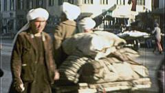 Men Cart Street Scene AFGHANISTAN Kabul War 1980s Vintage Film Home Movie 7190 Stock Footage