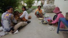 Cambodian People Preparing Food Stock Footage